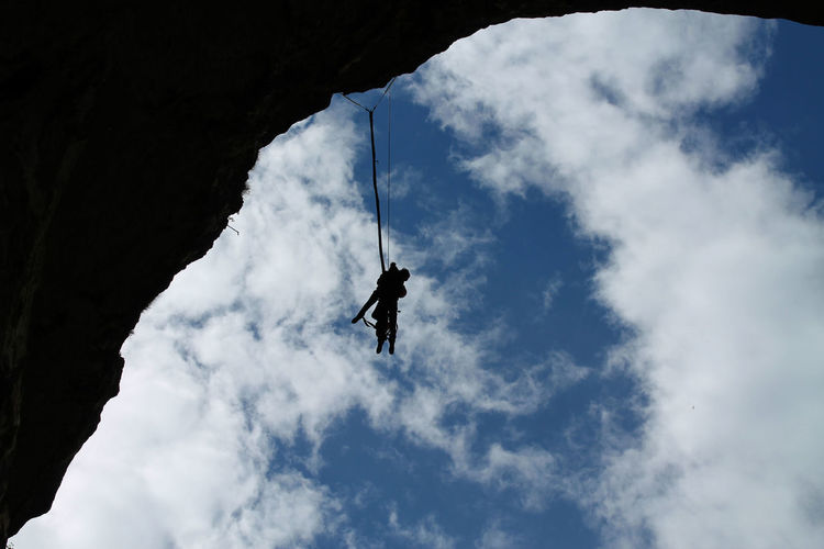 Cave God's eyes (Bulgaria) Adventure Bulgaria Bulgarian Bulgarian Nature Bungee Bungee Chair Bungee Jump Bungee Jumping Bungeejump Bungeejumping Cloud Cloud - Sky Clouds And Sky Cloudy Day Lifestyles Low Angle View Nature Outdoors Sky Sky And Clouds