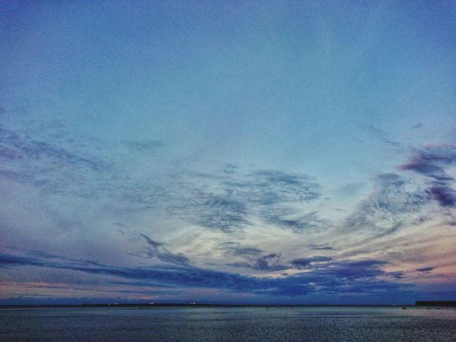 Water Sea Blue Sunset Sky Horizon Over Water