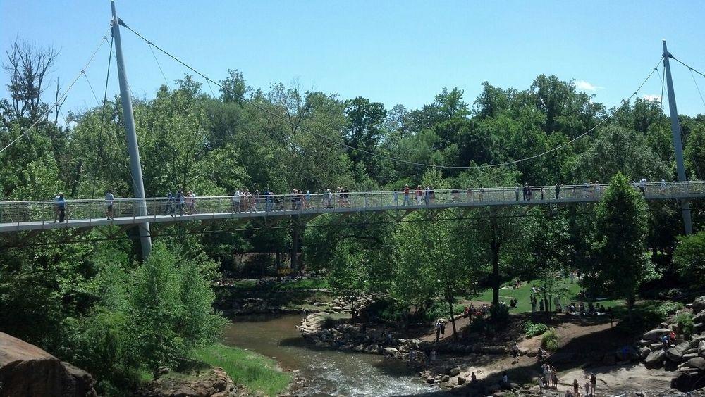 Suspension bridge above the falls Outdoors