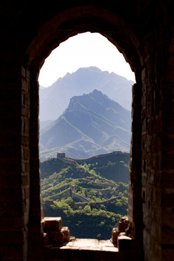 Great wall of china seen through window