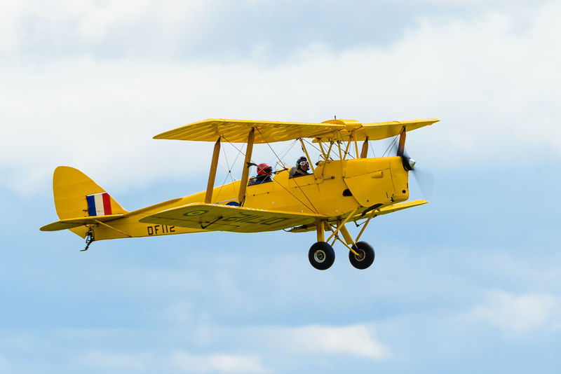Tiger Moth Tiger Moth Air Vehicle Airplane Cloud - Sky Duxford Flying Mid-air Sky Transportation Yellow