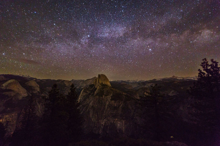 Milky Way over Half Dome It was dark, but the sky wasn't. The Milky Way brightened up the night sky over Half Dome and the Yosemite Valley. Astronomy Astrophotography Beauty In Nature Clouds Rest Constellation Dark Galaxy Half Dome Infinity Landscape Milky Way Mt. Clark Nature Night No People Non-urban Scene North Dome Rock Formation Scenics Sky Space Star Star - Space Tranquility Yosemite National Park