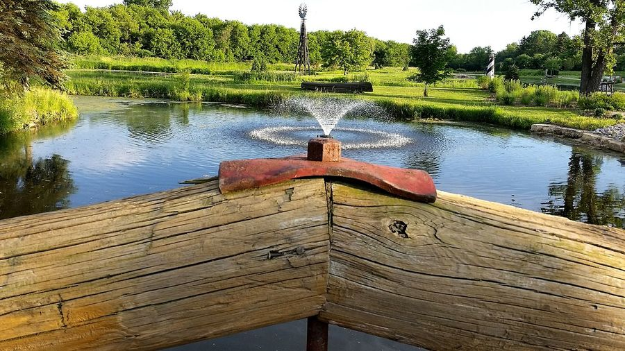 Water From A Bridge . Perspective is Everything . Summer Days and Walks Of Inspiration . Elburn Detail Wood Grain Water Wooden Bridge Water Effect Fountain Illinois Feel The Journey Fountains Near And Far Summertime Summer Coulor Of Life Pivotal Ideas Eyeemphoto