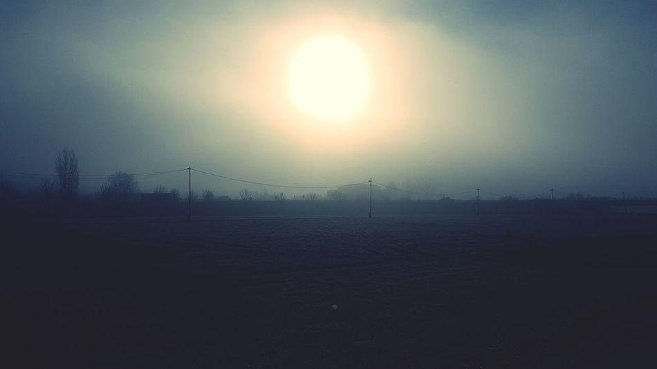 Hazy  Foggy Smog Weather Mist Shining Power Line  Farmland Countryside