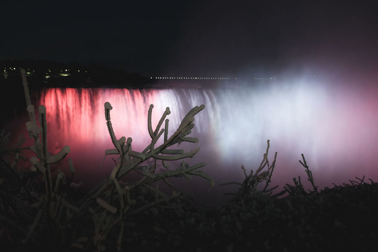 Niagara at night Plant Night Nature No People Illuminated Water Growth Lighting Equipment Dark Low Angle View Beauty In Nature Niagara Falls Niagara Canada Ontario Show Concept Playing Conceptual Nikon D7500 Long Exposure EyeEm Best Shots EyeEmNewHere EyeEm Selects EyeEm Gallery
