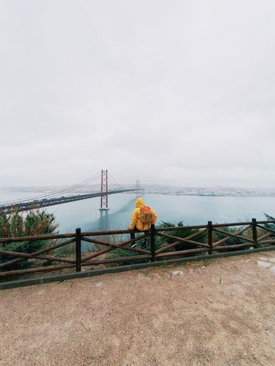 moody weather Selfportrait Cityscape City Bridge Bridge - Man Made Structure Portugal Lisbon EyeEm Best Shots Water Sea Sky Nature Railing Day Beach Land Outdoors Horizon Over Water Copy Space Beauty In Nature Scenics - Nature