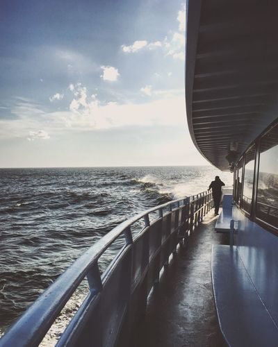 on a boat Silhouette Boat Water Sea Sky Horizon Over Water Horizon Railing Nature Cloud - Sky