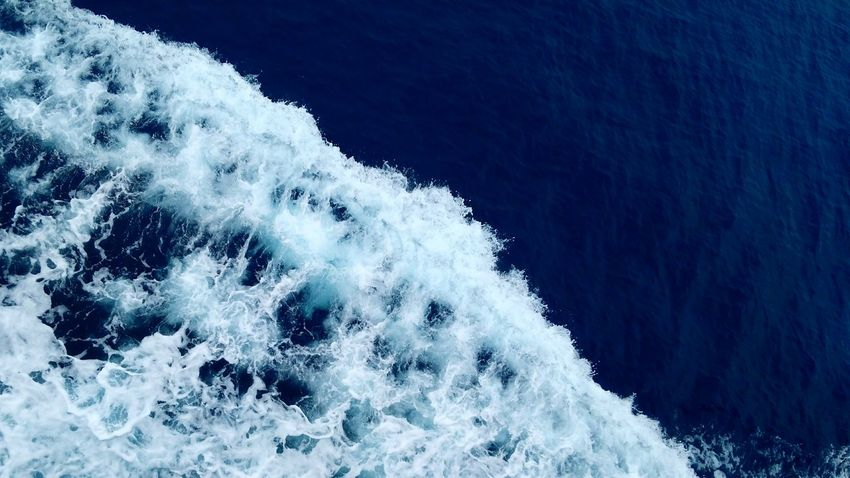 Wake of the boat. Ferry to Gozo. Water Sea Motion Outdoors Nature Wave Texture Coast Ocean Topdown Boat Wake Wash Background Split Composition