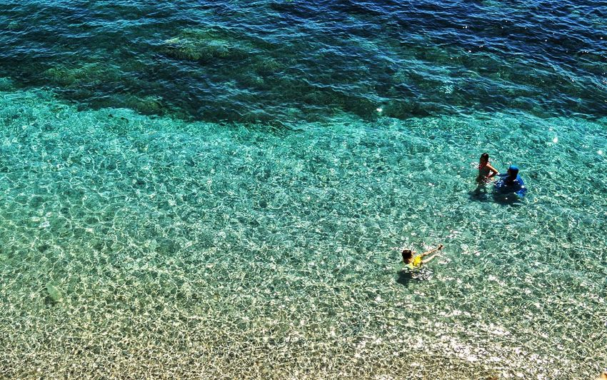Just Water !? Waterscape Mother With Two Kids Swimming In The Sea Woman In Burkini Burka For Swimming In Public Clear Water All Colors Of The Sea All Shades Of Blue Waterfunday Having Fun With Kids Having Fun In Summer Life Is Beach Alanya/Turkey Showcase July Hidden Gems  Colour Of Life A Bird's Eye View