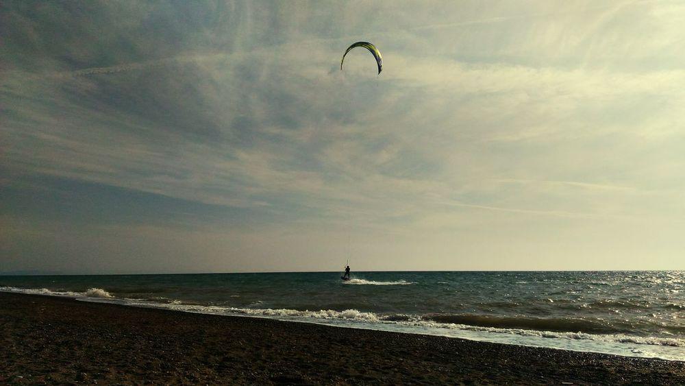 Sunset Relax Kite Surfing Water Flying Sea Beach Full Length Sport Men Sky Horizon Over Water Kiteboarding Surfing Water Sport Surfer Wetsuit Wave Parachute