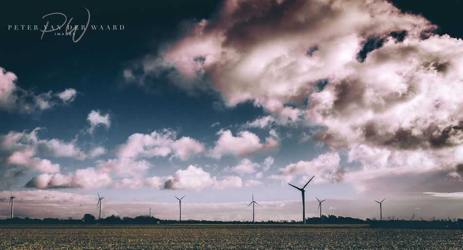 Landscape_Collection Sky And Clouds Alternative Energy Beauty In Nature Cloud - Sky Clouds Field Landscape Nature Nature_collection No People Outdoors Sky Wind Power Wind Turbine Windmill