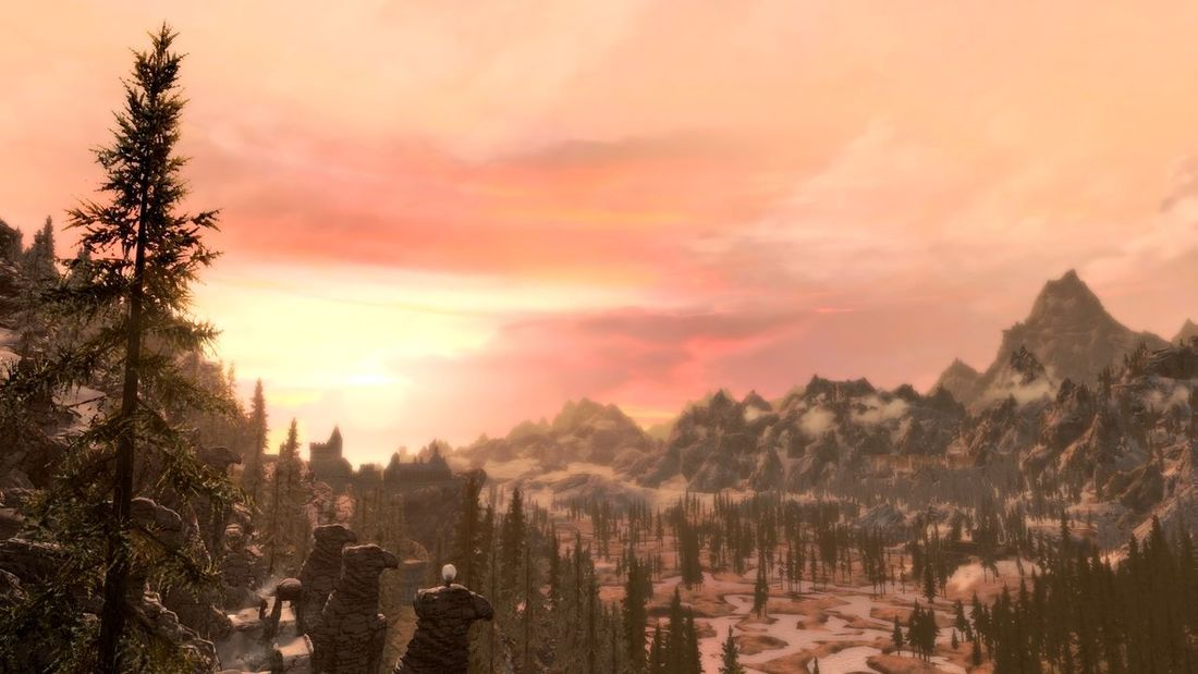 Just a good evening. Sunset Tree Pinaceae Fog Outdoors Forest Nature Winter Landscape No People Scenics Sky Cold Temperature Beauty In Nature Gaming Skyrim XboxOne Roleplay No Edit, No Filter, Just Photography Nordic Architecture EyeEmNewHere