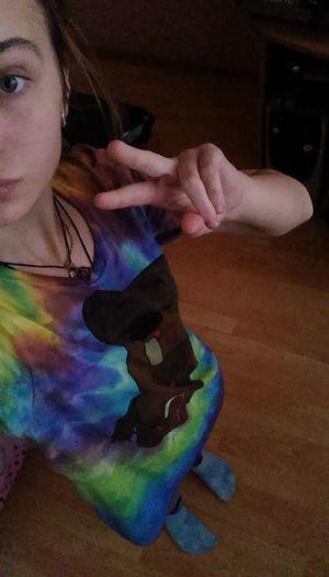 My Favorite T-shirt.  Tiedye Peace ✌ 💛💙💜💚❤️