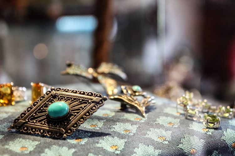 Precious, May 2019 Jewelry Accessory Vintage EyeEm Selects Wealth Close-up Jewelry No People Selective Focus Focus On Foreground Indoors  Luxury Still Life Gold Textile Gold Colored Fashion Metal Earring  Pattern