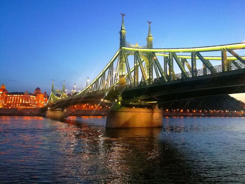 Night Beauty Nopeople Eye4photography  Citylife Budapest Spring City Water Suspension Bridge Bridge - Man Made Structure Chain Bridge Clear Sky River Sky Architecture Built Structure