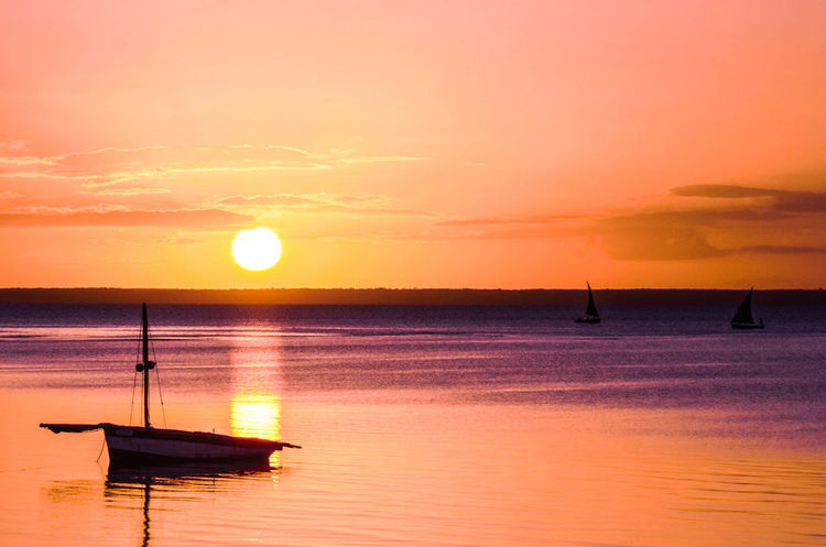 Lost In The Landscape Beach Beauty In Nature Dhow Dhow Boat Dhow Boat Ride Dhowcruise Dhows Horizon Over Water Nature Nautical Vessel No People Orange Color Outdoors Reflection Scenics Sea Silhouette Sky Sun Sunset Tranquil Scene Tranquility Transportation Water