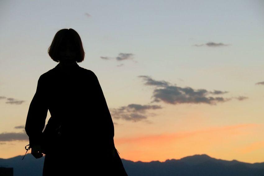 Sunset Women Standing Silhouette Sky