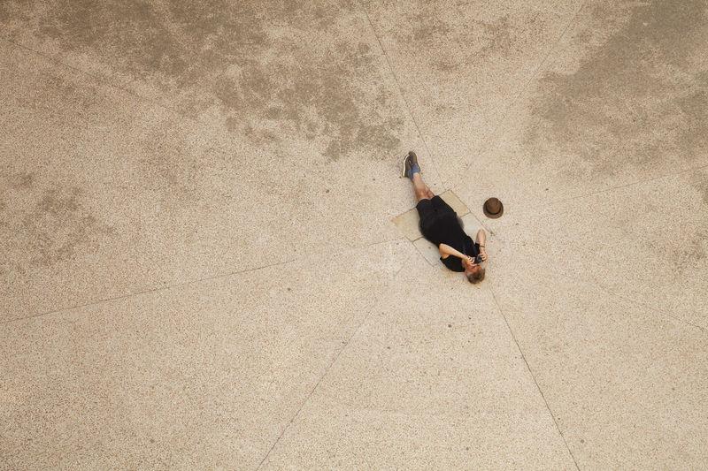 High angle view of ball on sand