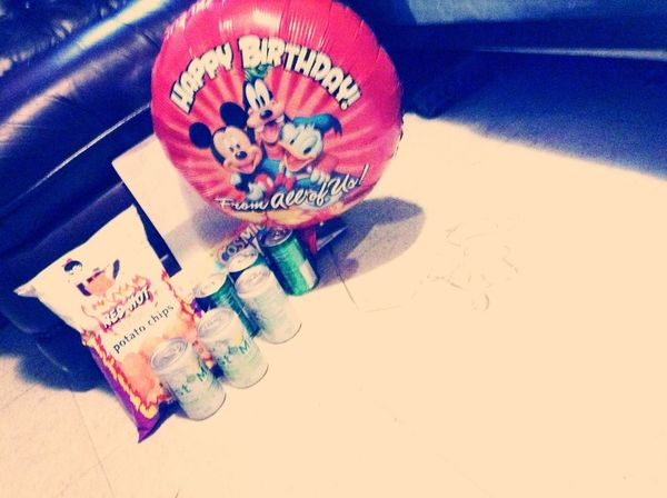 Dad Knows Me Mist, Moutain Dew, Chips, Balloon Of Mickey <3 And Card Surpise I Got Brownies