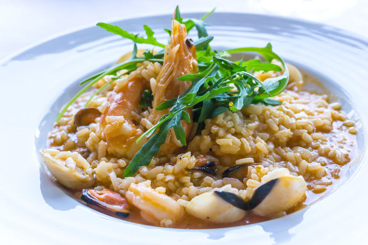 Close-up of risotto served in plate