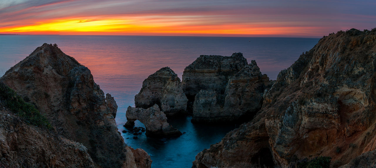 Lost In The Landscape Panorama Portugal Beauty In Nature Cliffs And Sea Ladnscape Lago Landscape Landscape #Nature #photography Landscape_photography Nature Outdoors Rock - Object Sea Sky Sunrise Water