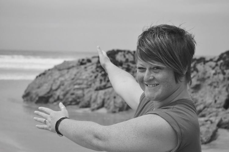 one person beach outdoors Portrait of a Woman The Portraitist - 2017 EyeEm Awards beachphotography enjoying the moment LOVING WHERE I LIVE cornwall This is Nature posing for t Ways Of Seeing One Person Beach Outdoors Portrait Of A Woman The Portraitist - 2017 EyeEm Awards Beachphotography Enjoying The Moment LOVING WHERE I LIVE Cornwall This Is Nature Posing For The Camera Summer Blackandwhite Cornwall Showing With Hands