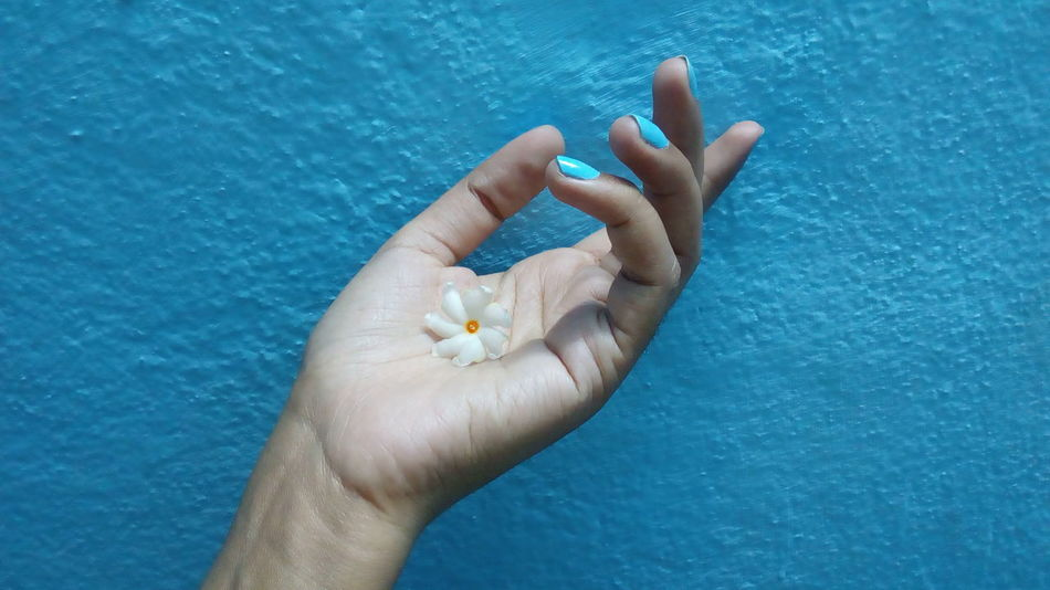 Human Hand Human Body Part Blue Close-up One Person Palm Day People Outdoors Adult Adults Only Jasmine Fingernail Nature Night Queen Night Flowering Jasmine Jasmine Collection Coral Jasmine Nail Polish Wall Flower Parijat