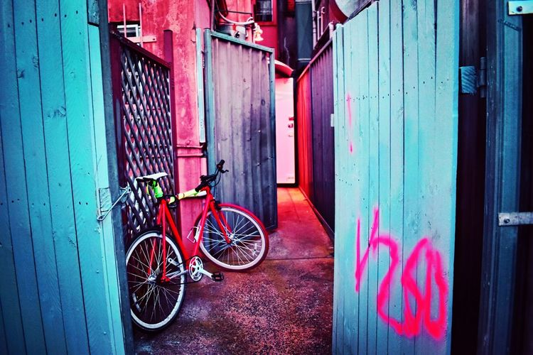 That's where I put my bike! Pink Color Suburbia Colours Outdoors Photography EyeEm Gallery EyeEm Picoftheday Art Bicycle Architecture Built Structure Building Exterior Building Day Transportation Land Vehicle Mode Of Transportation No People Wall - Building Feature Outdoors Stationary Text City Graffiti Entrance Door Wall Closed