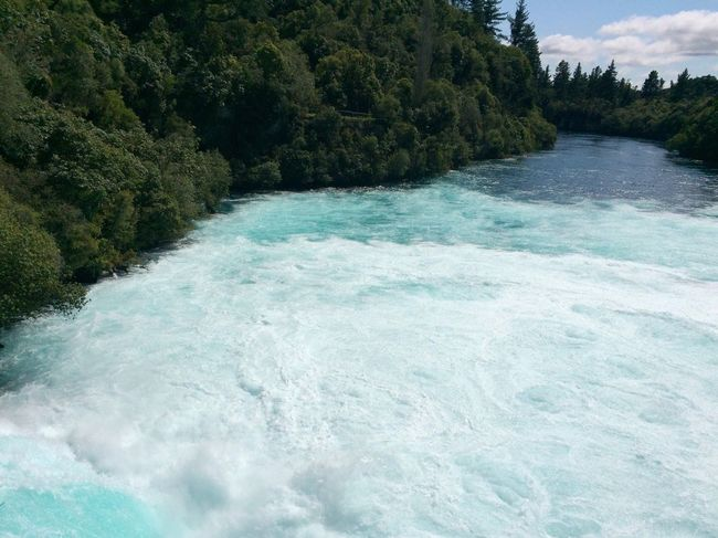 Water rushing down Huka falls Waterfall Water River Tourist Destination Landscape Landscape_Collection Nature