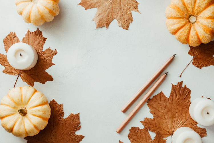Autumn Pencil Top View Flat Lay Paint Wood Writing Write Sketch September October November Maple Note White Above School Pumpkin Candle Text Above Concept Cozy Winter Mockup Fall Back Background Education Mock Desk Table Design Template Colorful Copy Space