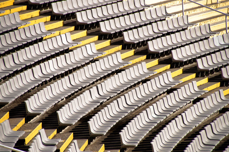 High angle view of chairs in stadium