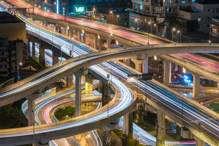 chengdu Architecture Bridge - Man Made Structure Building Exterior Built Structure City City Life Cityscape Connection Elevated Road High Angle View Highway Illuminated Light Trail Long Exposure Motion Multiple Lane Highway Night No People Office Building Exterior Outdoors Overpass Road Speed Street Transportation