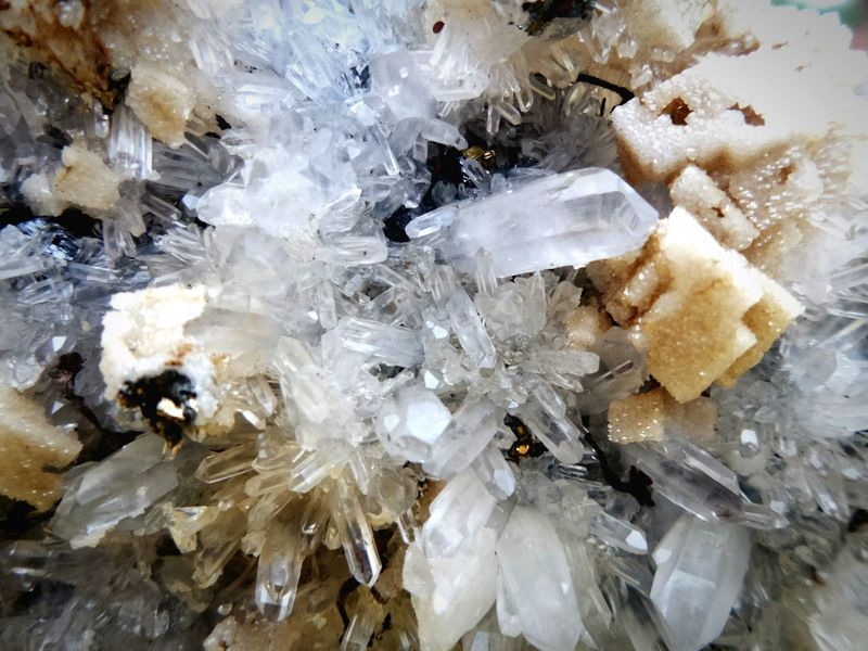 Crystal Backgrounds Close-up No People Quartz Pyrite On Quartz Pyrite Quartz Crystal Quartz Stone Gemstone  Greece Day Nature Beauty In Nature Gemstone