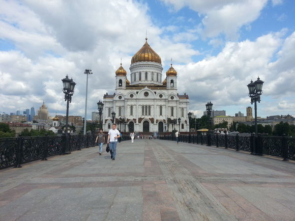 Architecture Bridge Building Exterior Built Structure City City Life Cloud Cloud - Sky Cloudy Day Diminishing Perspective Dome Footpath Leisure Activity Lifestyles Moscow, Russia Outdoors Sky The Way Forward Tourism Travel Destinations
