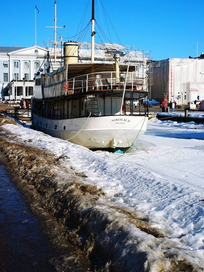 Nautical Vessel Moored Mode Of Transport Outdoors Transportation No People Day Clear Sky Snow Sky Cold Temperature Harbor Nature Water Architecture