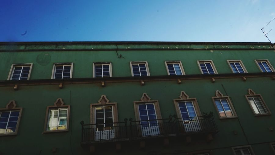 Favorite Color With Love With Him Sony Sonyalpha Sonya5100 Sonyforher Portugal Love Town Green Window Architecture Building Exterior Built Structure Day Residential Building No People Low Angle View Outdoors City Sky