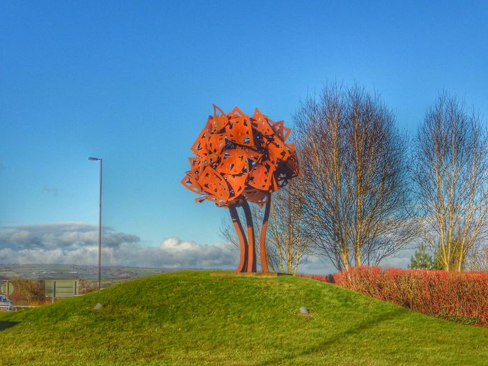 Wales Photography Taking Photos Check This Out Art Sculpture Monument Trees Tree And Sky Tree Porn Rust Rusty Rusty Tree Blue Sky Outdoor Photography Public Art