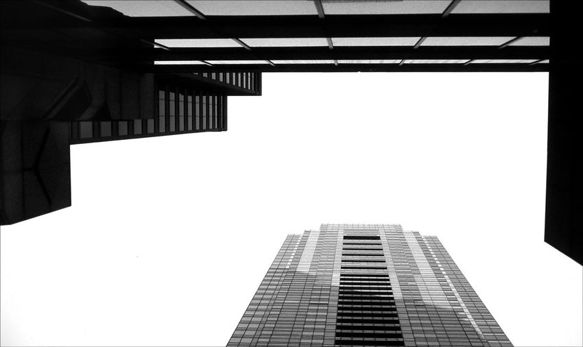 Directly Above View Office Building Against Clear Sky