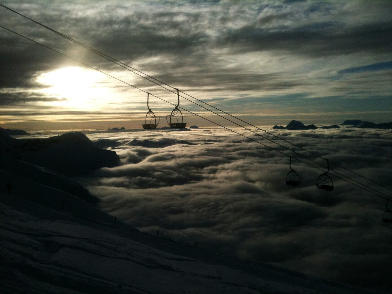 cable, connection, sky, cloud - sky, nature, no people, sunset, weather, mountain, landscape, scenics, cold temperature, beauty in nature, outdoors, snow, winter, overhead cable car, transportation, tranquility, tranquil scene, ski lift, technology, day