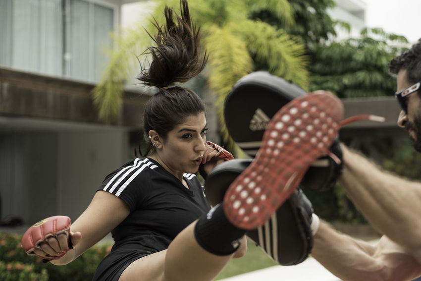 NotYourCliche EyeEm Ready   Athlete Be. Ready. Kick Red Adidas Black Sport Training Women