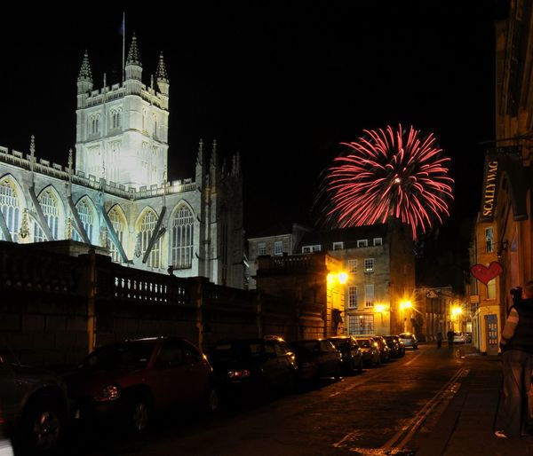 Bath Abbey  City Of Bath Firework Display Fireworks Illuminated Night Travel Destinations York Street