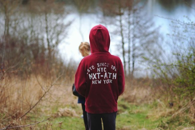 #Lake Nature River Scenery Peaceful Beautiful Warm Clothing Back Red Standing Women Human Back Rear View Winter Hooded Shirt Countryside