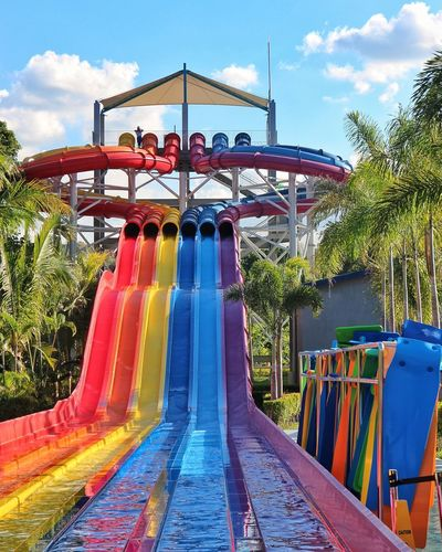 colours Colorful Slides Colors Colorful Adventure Outdoors Outdoor Outdoor Slide Pampanga Philippines Multi Colored Tree Amusement Park Arts Culture And Entertainment Sky Cloud - Sky Water Slide Water Park Slide Slide - Play Equipment