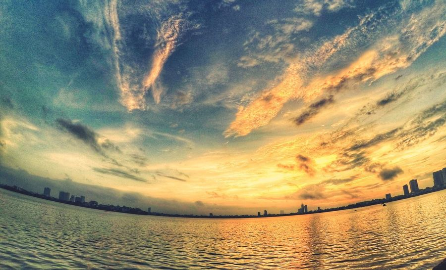 Sunset Sky Water Cloud - Sky Scenics - Nature Beauty In Nature Tranquil Scene Nature No People Outdoors Land Dramatic Sky