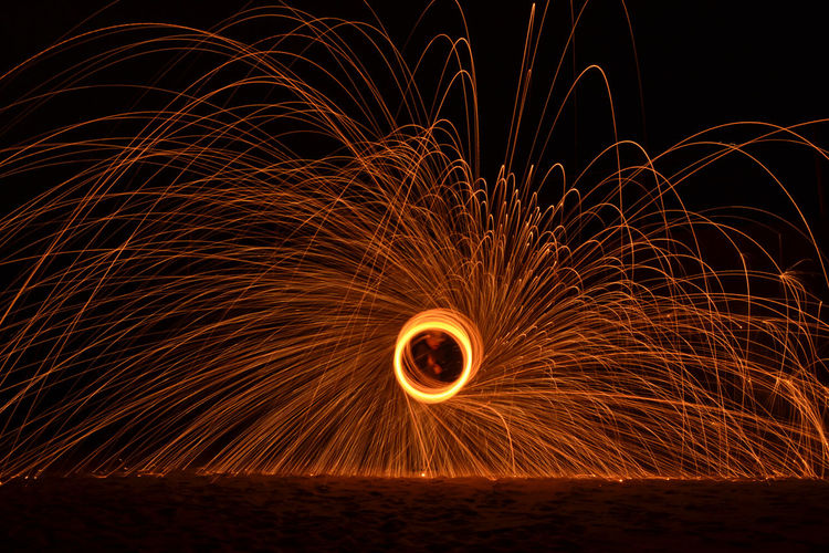 Close-Up Of Wire Wool Against Clear Sky At Night
