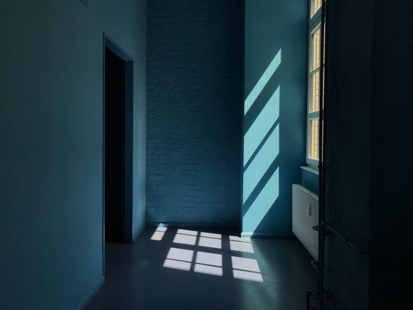 Yellow Color Blue Color Blue Silence Hallway Corridor Shadow Window Architectural Detail Summer Built Structure Architecture Sunlight No People Shadow Indoors  Nature Wall - Building Feature Day Building Entrance Security Door