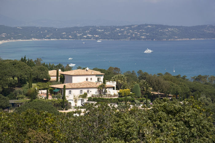 villa over the gulf of Saint-Tropez - wealth on the french riviera Architecture Bay Building Exterior Cottage Côte D'Azur Formal Garden France French Riviera Gulf Of Saint-tropez High Angle View Landscape Luxury Mansion Mediterranean  Mediterranean Sea Nautical Vessel Provence Real Estate Residential Building Saint-Tropez Sea Tourist Resort Traditional Upper Class Villa Miles Away