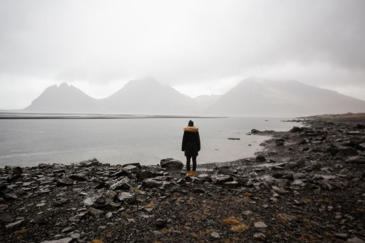 Rock Moody Sky Landscape_Collection Landscape Nature Iceland Memories Iceland_collection Iceland Mountain Sky Full Length One Person Tranquility Leisure Activity Non-urban Scene Mountain Peak Beauty In Nature Real People International Women's Day 2019