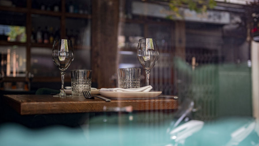 Glass of table at restaurant