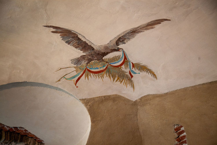 Low angle view of painting on wall
